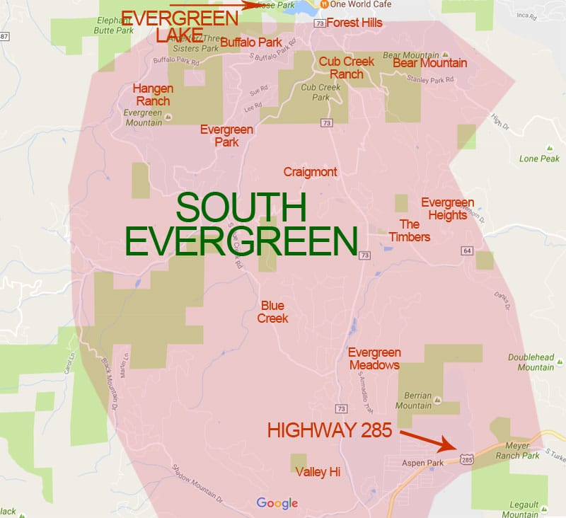 Map of South Evergreen - Homes For Sale