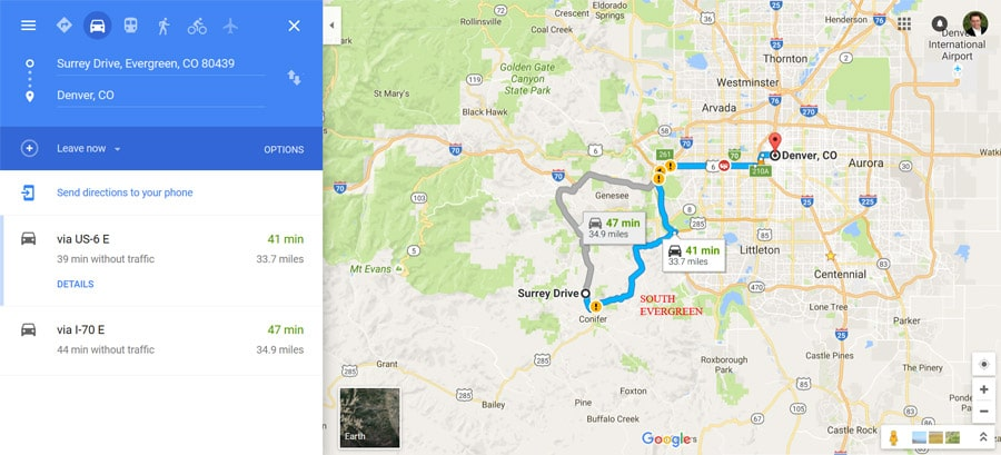how long is drive from evergreen co to denver